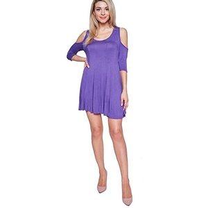 Violet Cold Shoulder 3/4 Sleeves Jersey Soft Dress